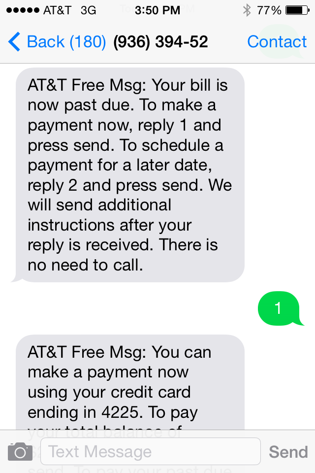 """To Pay, Text Reply """"1"""""""