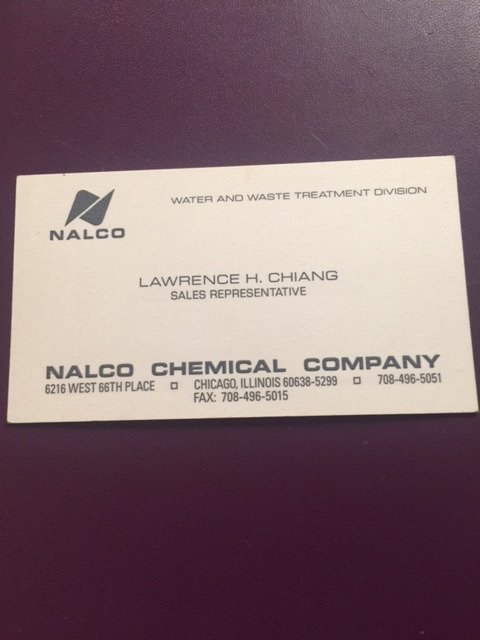 Larry Chiang, Nalco chemical