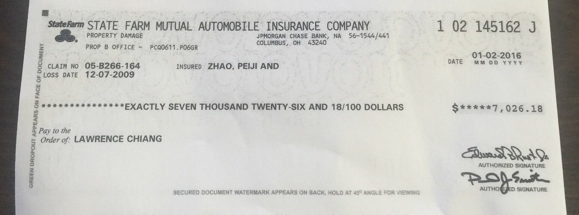 Check cleared Re 12 07 2009 accident Paid January 3 2016
